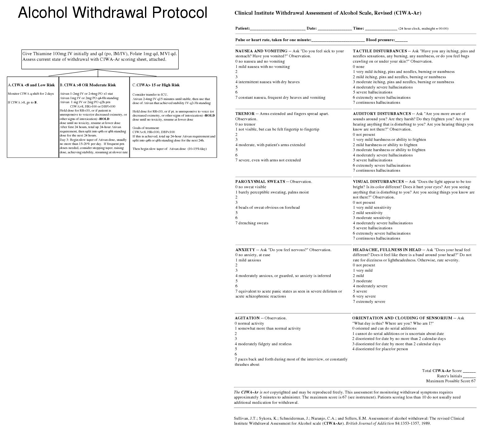 alcohol withdrawal protocol for hospitals Alcohol withdrawal syndrome (aws) is the name for the symptoms that occur when a heavy drinker suddenly stops or significantly reduces their alcohol intake with aws, you may experience a.